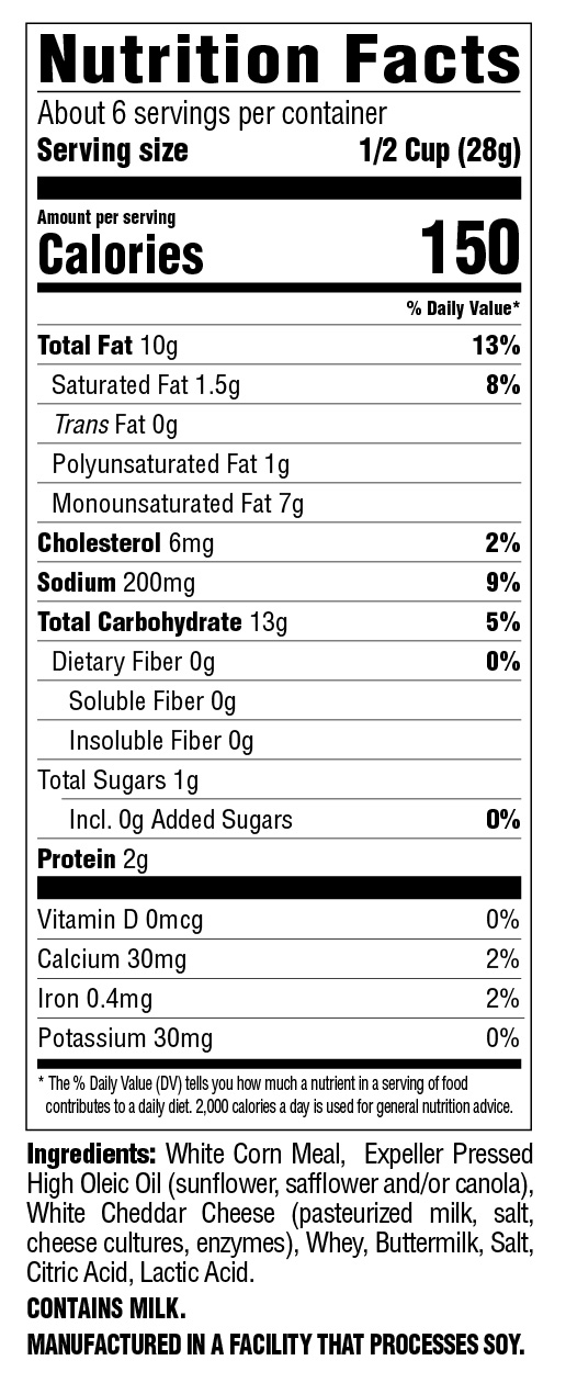Cheese Puffs Baked White Cheddar Nutritional Information