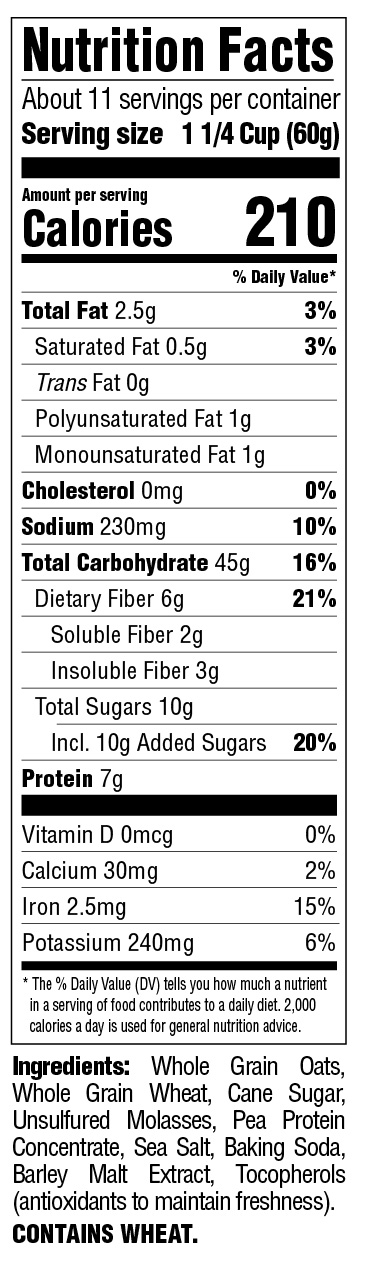 Classic Morning Oat Crunch Nutritional Information