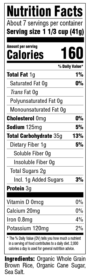 Organic Brown Rice Crisps Nutritional Information