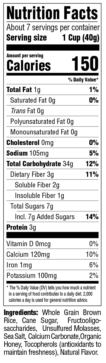 Puffins Honey Rice Nutritional Information