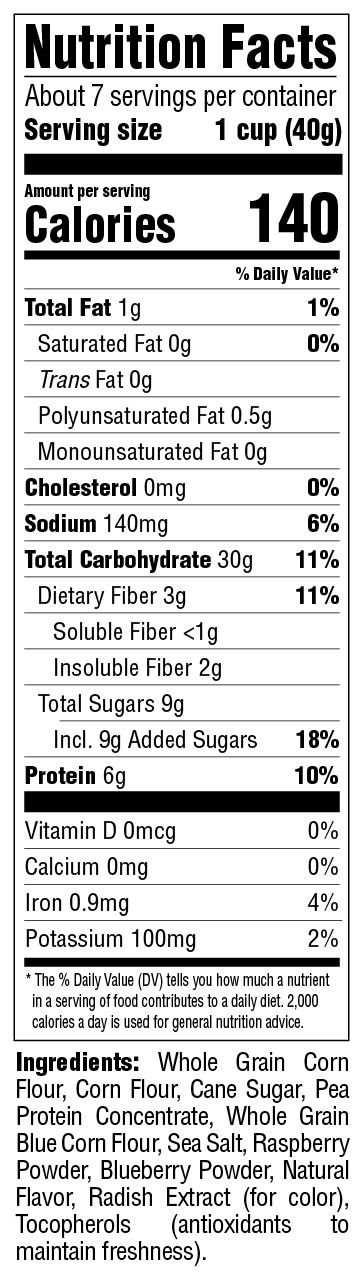 Puffins Protein Berry Burst Nutritional Information