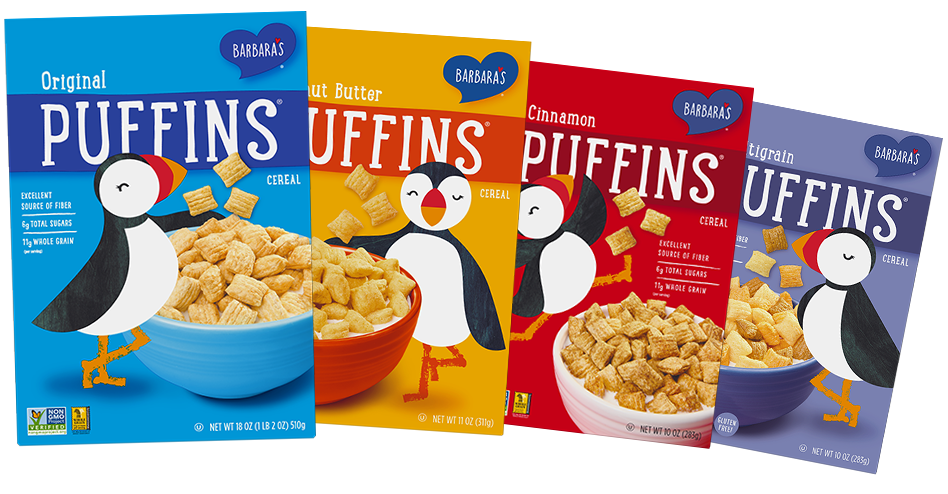Puffins cereal boxes